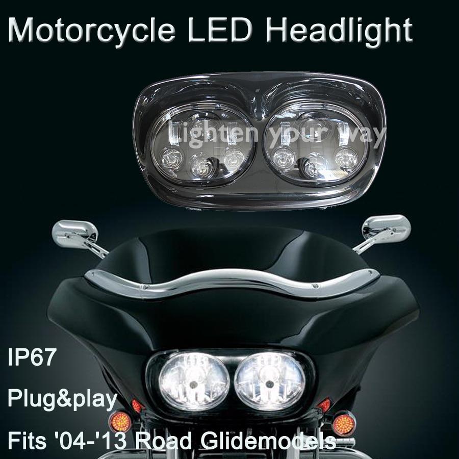 2set Hot selling!!! Best price of new model spotlight 12V 45w*2 Hi/lo beam Dual Headlight For Harley Road Glide