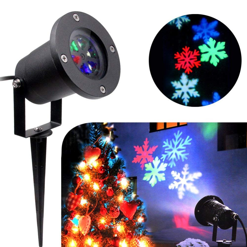 LED Projector Waterproof Moving Snow Snowflake Spot Light Christmas New Year LED Stage Party Light недорого