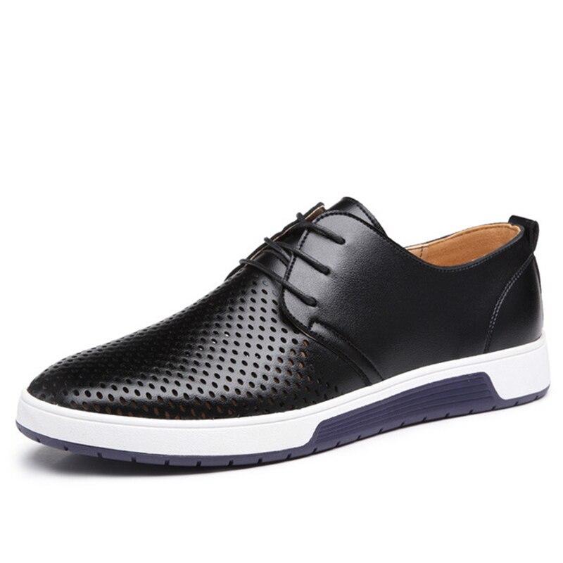 Cuero envío de la gota hombres zapatos Nuevo 2018 Primavera Verano moda Casual hombres zapatos para hombre zapatillas pisos más el tamaño grande 37-48