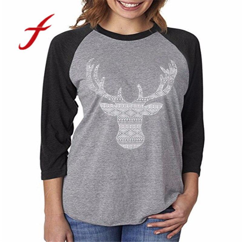 FEITONG Women s t shirts Merry Christmas Elk Print Fashion Long Sleeve Splicing Top T Shirt