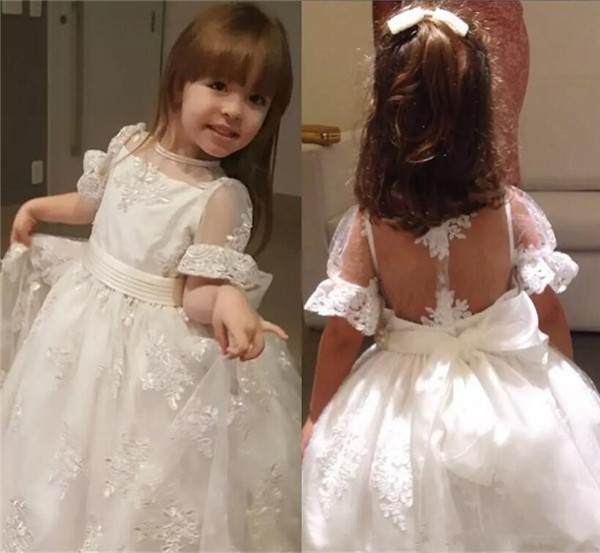 White Ivory Flower Girls Dresses 2017 Cap Sleeves Appliques Beaded Sheer Kids Formal Wear Gowns for Wedding Party Gown