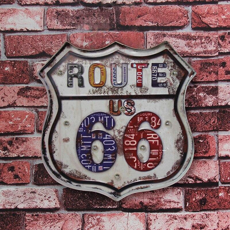 USA Route 66 lumière LED lampe enseigne publicité métal étain signes fer affiche rétro Art mur décoratif pour Garage maison Bar Pub