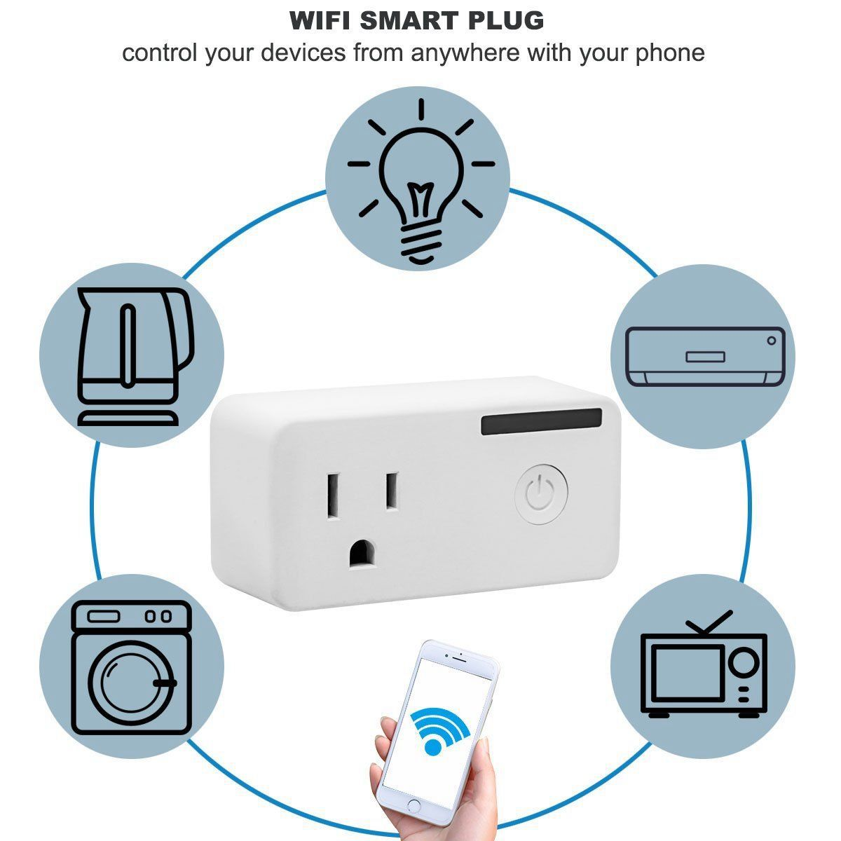 Mini Wifi Timing Function US Plug Works With Google Home Alexa APP Smart Switch Remote Control Devices Anywhere US Plug Socket