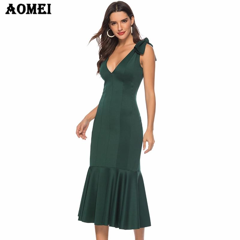 Женское зеленое платье с v-образным вырезом, элегантное вечернее платье с тонкими оборками, сексуальное вечернее платье с открытой спиной, с...