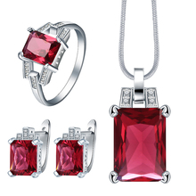 Blue Sky Blue Green red stone cz Jewelry Sets For Women Fashion Necklace Pendant Earrings Rings for Engagement Gift