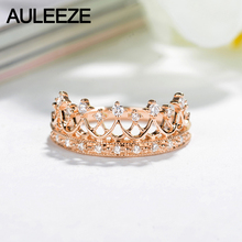 AULEEZE Elegant Princess Crown Gold Ring Real Diamond Engagement Wedding Ring 18K Solid Yellow Gold Diamond Ring Fine Jewelry