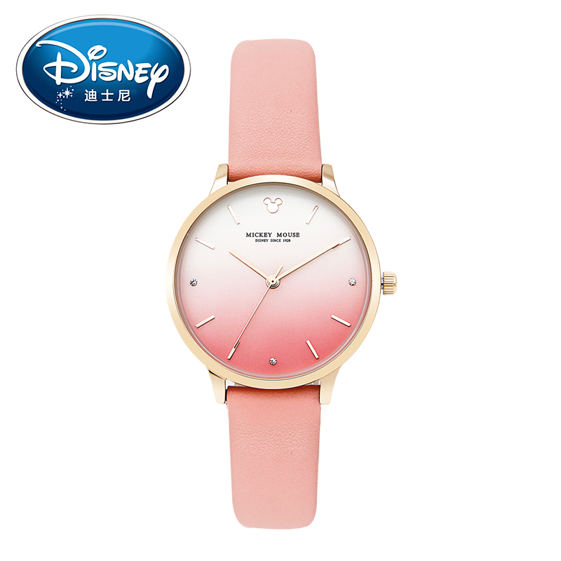 Disney Women Ladies Watch Clock Brand Gradient design Quartz Children Watch Fashion Luxury Cute Wristwatches Girls Gift Leather disney kids watch children watches princess elsa crown snow genuine brand fashion cute wristwatches leather strap gift clock
