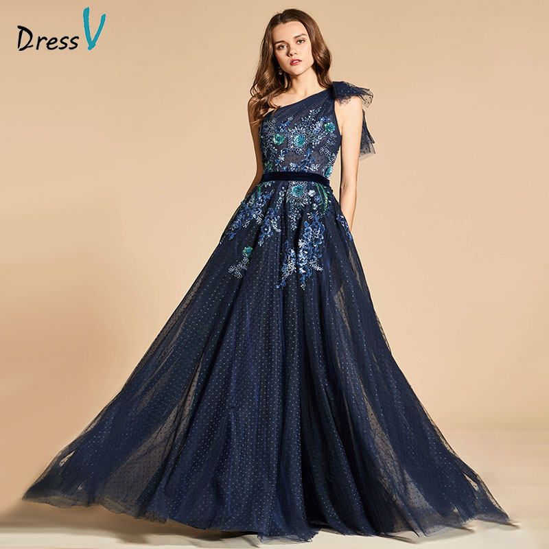 Dressv Blue Evening Dress A Line Elegant One Shoulder Lace Floor-length Zipper Up Wedding Party Formal Dress Evening Dresses