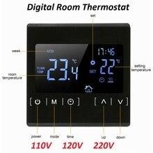 Сенсорный экран, ЖК-дисплей, регулятор температуры теплого пола 85~ 240 В 16A, Электрический комнатный термостат для подогрева пола