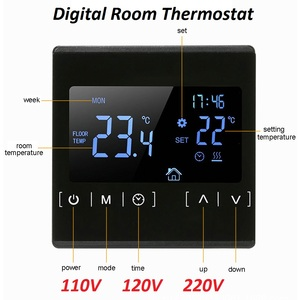 Image 1 - New Touch Screen LCD Display Warm Floor Temperature Controller 85~240V 16A Electric Floor Heating Room Thermostat