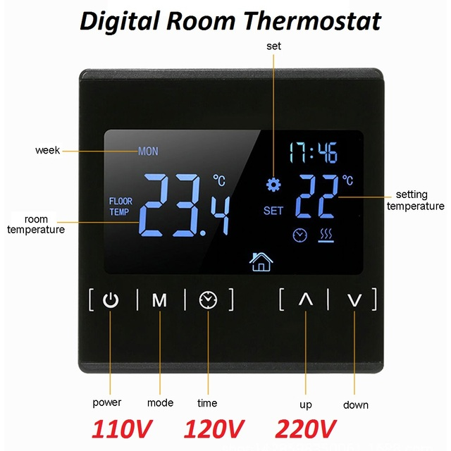 New Touch Screen LCD Display Warm Floor Temperature Controller 85~240V 16A Electric Floor Heating Room Thermostat