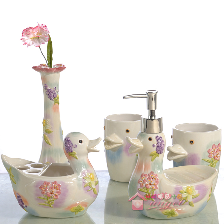 Cartoon duck ceramic toothbrush holder soap dish bathroom for Bathroom accessories kit