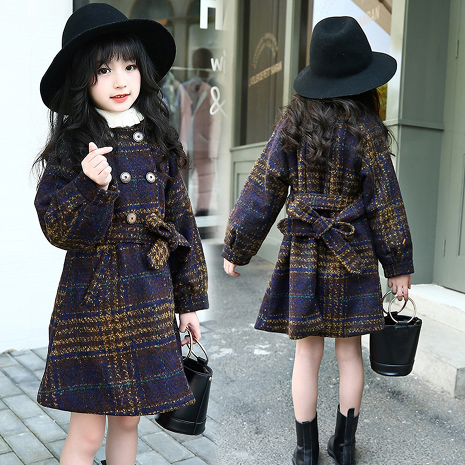 Winter Jackets For Girls Plaid Thick Woolen Coats For Girls Autumn Child Girls Jacket Teenage Girls Clothing For 6 8 10 12 Years