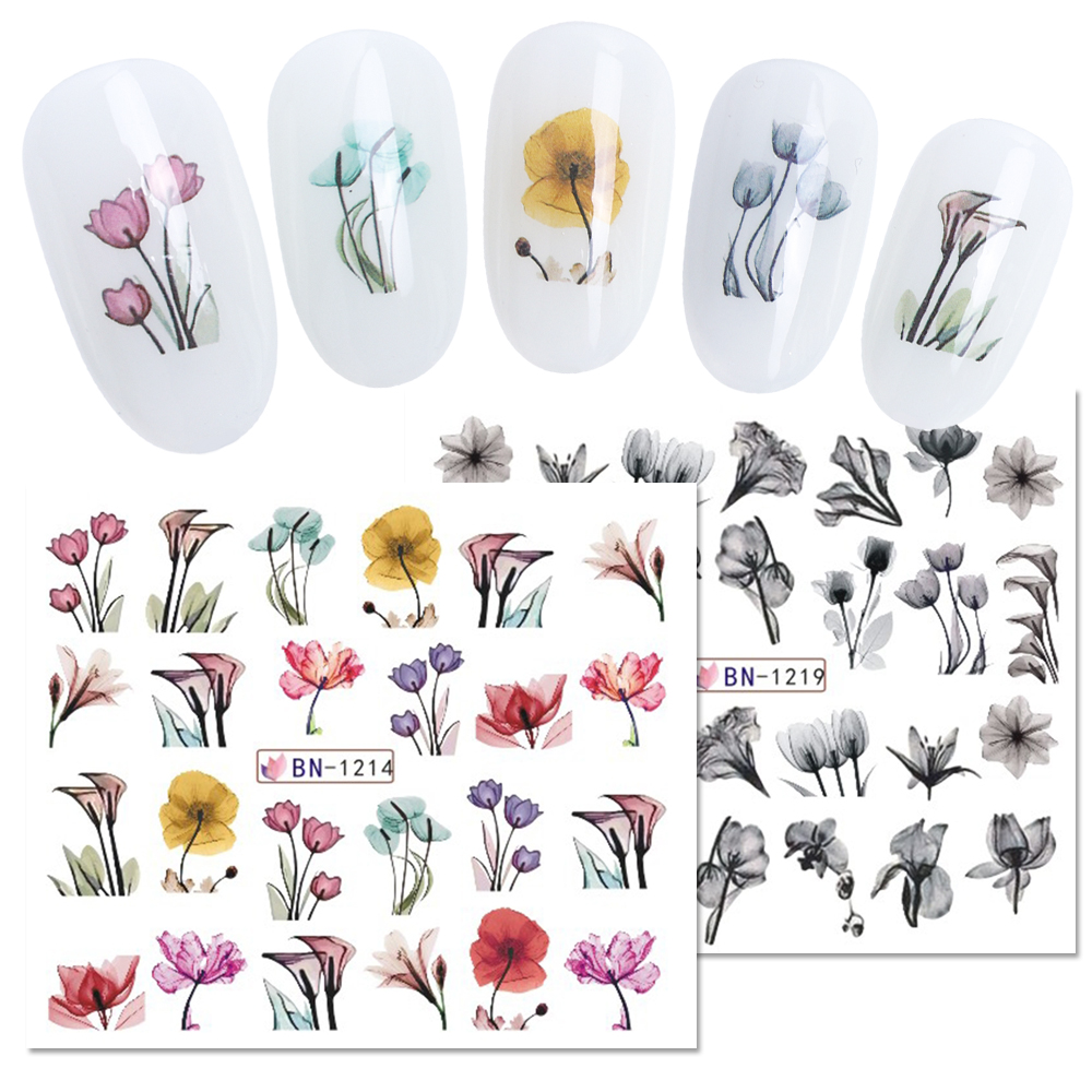 1pc Black White Lace Flowers Stickers For Nails Plants Green Leaf Water Slider Tattoo Decal Nail Art Decorations BEBN1213 1224 1 in Stickers Decals from Beauty Health