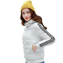 Fashion Striped Women's Hooded Long Sleeve Padded Jacket Winter Zip Up Coat