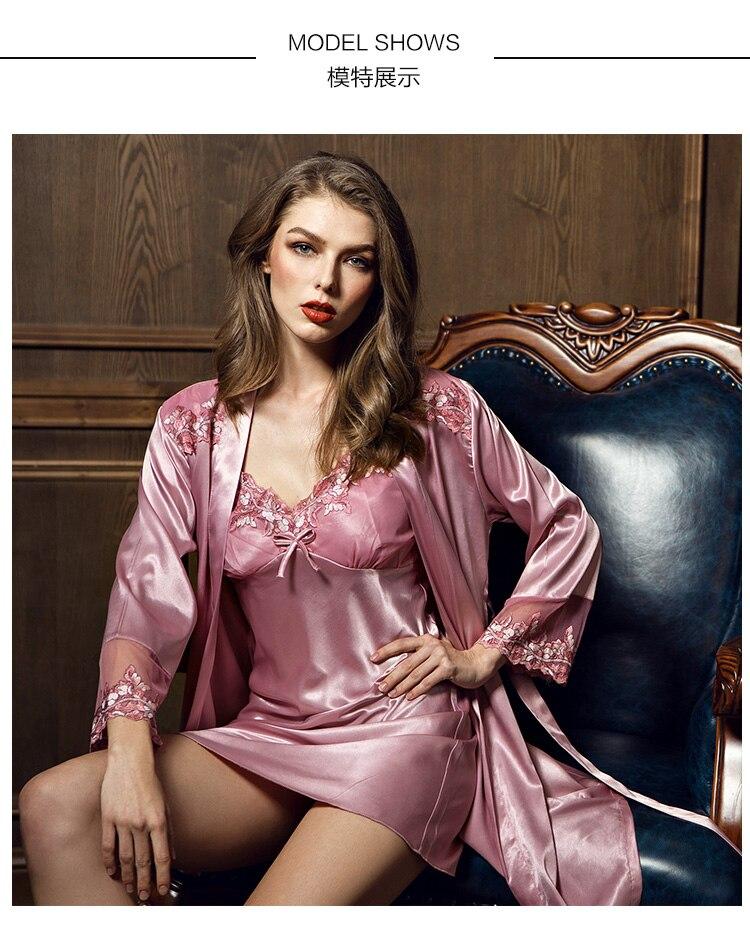 b402a932d Slik Not Satin Pajamas Suit Sleepwear Women Nightgown Lace ...
