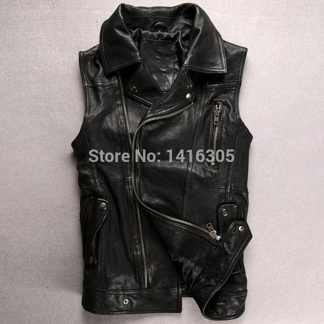 e871b1166942d0 Italian F Goatskin Lapel oblique genuine leather vest men s rock motorcycle  vest black slim sleeveless leather jackets s-xxl