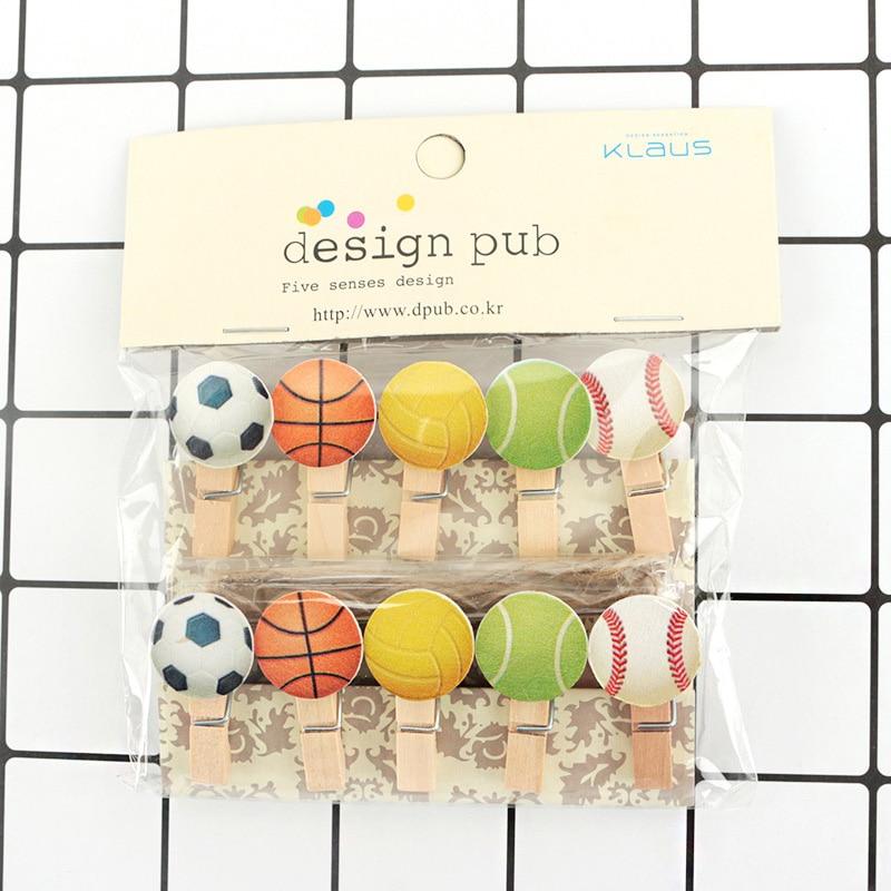 10Pcs/lots Kawaii CFootball Basketball Wooden Clip Photo Paper Postcard Craft DIY Decoration Clips Office Binding Supplies