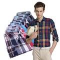 2016 men's colorful casual Fashio plaid shirts males dress shirt plus size M-3XL homme camisa masculina mens new clothing MQ66