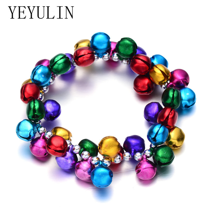 Trendy Cute Kids Colorful Jingle Bells Charms Bracelet For Child Elastic Christmas Jewelry Gift