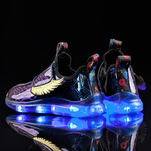 Kids Light up Shoes with wing Girls Glowing 2019 Luminous Sneakers Children Led Shoes Boys USB Charging Boy Fashion Shoes(China)