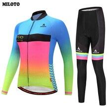 MILOTO Team Womens Cycling Jersey Ropa Ciclismo Long Sleeve Suit Bike Bicycle Shirt Cycling Clothing Top Bib Pants Sets S-4XL