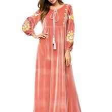 Мусульманское женское платье с длинным рукавом, бархатное, с вышивкой, Дубай, макси, abaya jalabiya, Исламская одежда для женщин, халат, кафтан, Марокканское, 7260