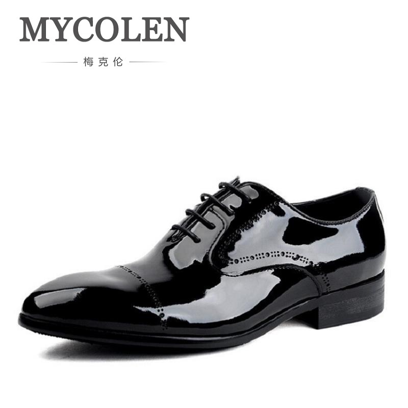 MYCOLEN Men Formal Shoes Business Black Patent Leather Oxford Shoes Pointed Toe Men Dress Shoes Chaussures Hommes Cuir Veritable mycolen new arrived brand men shoes black oxfords shoes pointed toe men flat business formal shoes lace up men s dress shoes