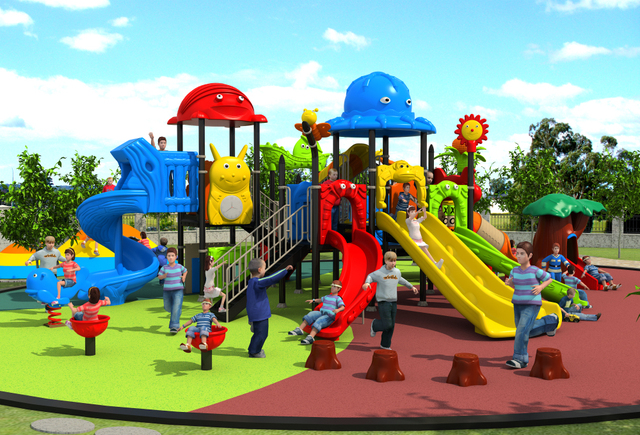 Amut Outdoor Play Structure For Park Community Mall Large Combined Playground Slide Kids Ylw Out17919