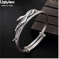Uglyless реального S925 стерлингового серебра Для женщин браслеты вулканизированной тайский серебристый, черный браслет ручной работы Bamboo Fine