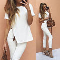 High Side Slit Short Sleeve Shirts Women Loose Polyester Cotton Pink Side Split Top Fashion Casual Shirt