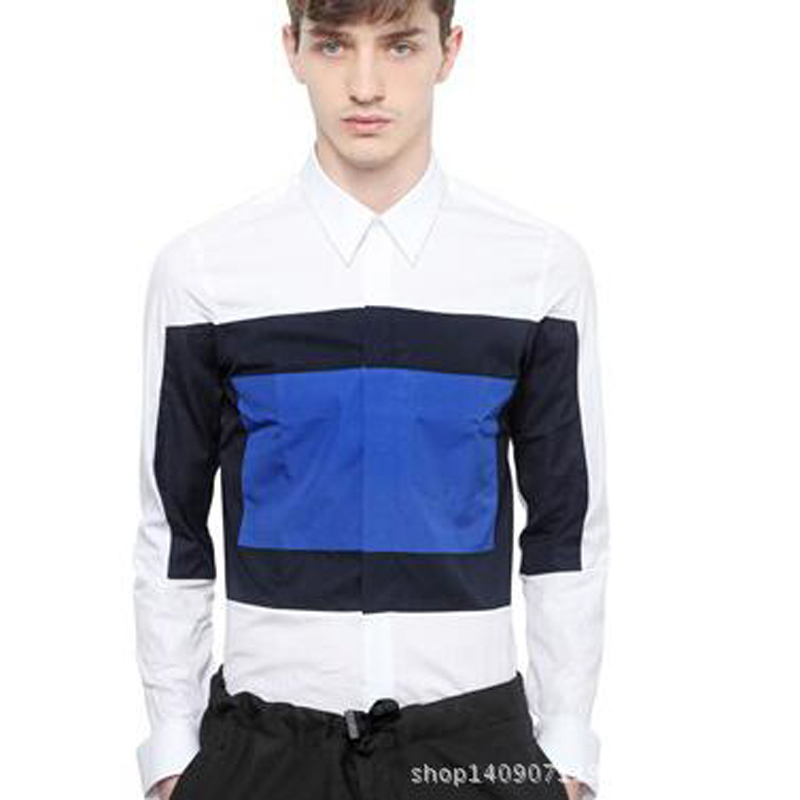 Color Splicing Men Basic Brand Shirts Quality Cotton Long Sleeve Casual Shirt Fashion Royal Pattern Male Cloth Plus Size 3XL