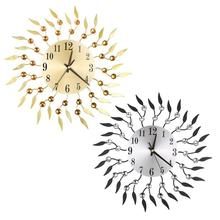 Европейские кованые 3D настенные часы с бриллиантовым цветком, модные настенные часы для гостиной, спальни, бесшумные металлические настенные часы, Прямая поставка