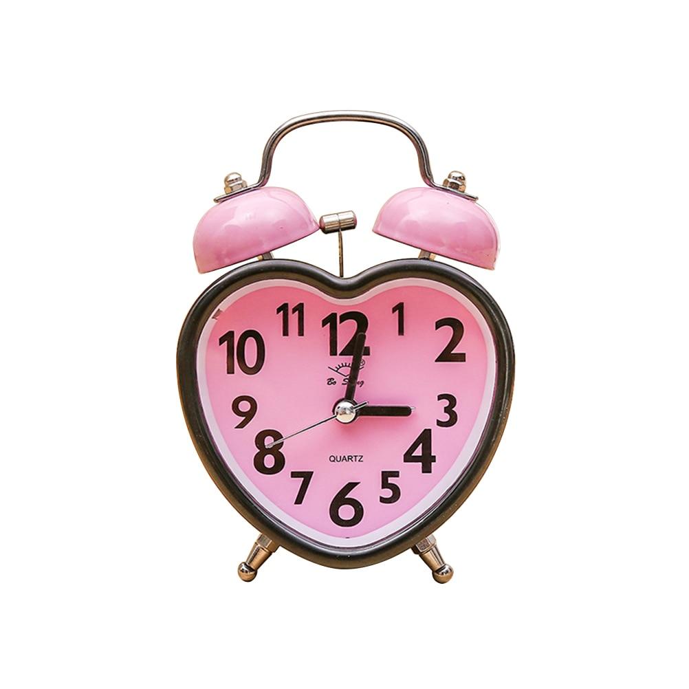 e05c32ea3a2a En forma de corazón Campana doble Reloj despertador Sin marcación Twin  Campana Reloj despertador con Luz nocturna para niños Habitaciones de niñas  (Rosa)