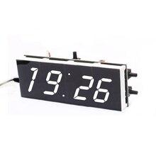 DIY 4-разрядный цифровые часы электронные светодиодные комплект большой Дисплей случае свет Управление 1x Белый
