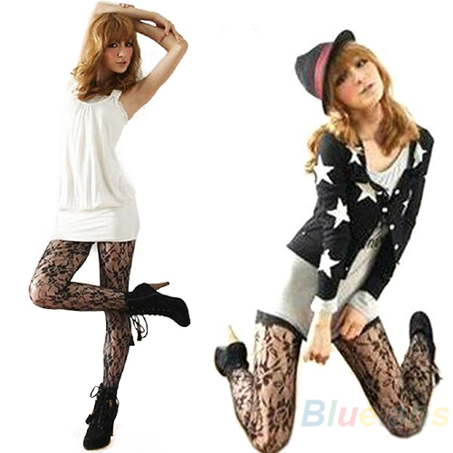 Hot Fashion Sexy Women Soft Tights Rose Lace Pattern Jacquard Pantyhose Stockings 0JRA
