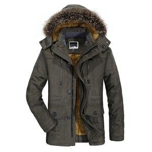 Image 3 - Yihuahoo 겨울 자켓 남자 5xl 6xl 코튼 패딩 따뜻한 파카 코트 캐주얼 가짜 모피 후드 양털 롱 남성 자켓 윈드 브레이커 남성