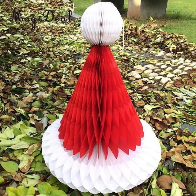 MagiDeal Wholesale 3D Paper Honeycomb Santa Hat Cap Christmas Hanging Table Ornament for Festive Party Favor Decoration 20cm
