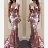 Sexy Spaghetti Strap Pink Sequined Prom Dresses 2019 Backless Long Pageant Evening Dress For Women Vestidos De Gala