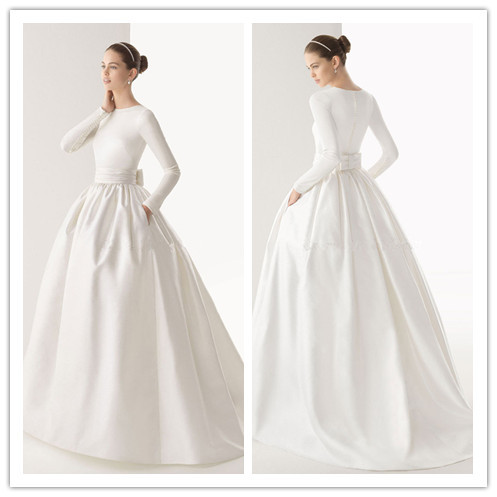 61a80c2f57f Long Sleeve Muslim Wedding Dresses Modest Round Neck Satin White Ball Gown Bridal  Wedding Dresses with Pocket 2015