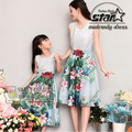 Polyester Floral Family Matching Mother Daughter Clothes Sleeveless O-Neck Girls Dress Flower Printing Mommy Girls Long Dress