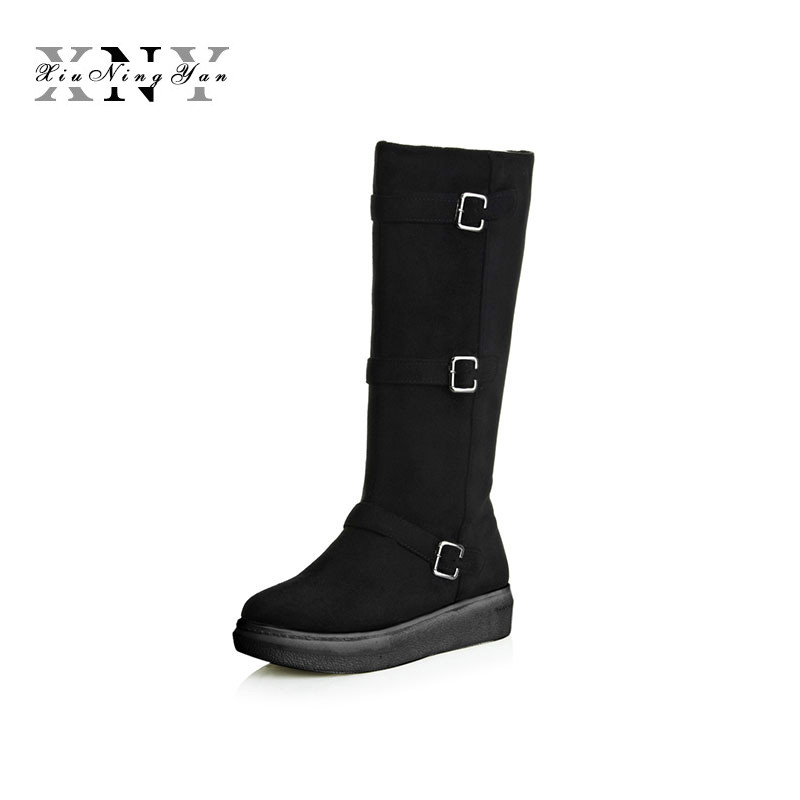 Women Knee High Boots Flat Heels Round Toe Casual Snow Boots Woman Shoes Flock Winter Women Brand  Boot with Fur Botas Mujer winter warm snow boots cotton shoes flat heels knee high boots women boots wholesale high quality