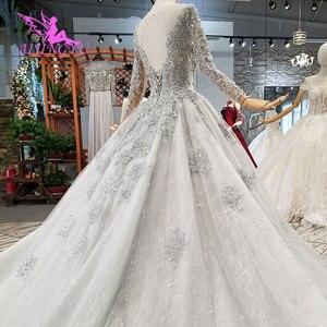 Image 5 - AIJINGYU نوفا فستان الزفاف كوتور زي العرائس البلد تول امرأة طويلة 2021 الجمارك أحدث ثوب الحجاب الساتان فساتين الزفاف