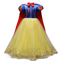 2019 New Children Snow White Cosplay Girl Princess Dress with Long Cape Birthday Tutu Dress Christmas Halloween Party Costume