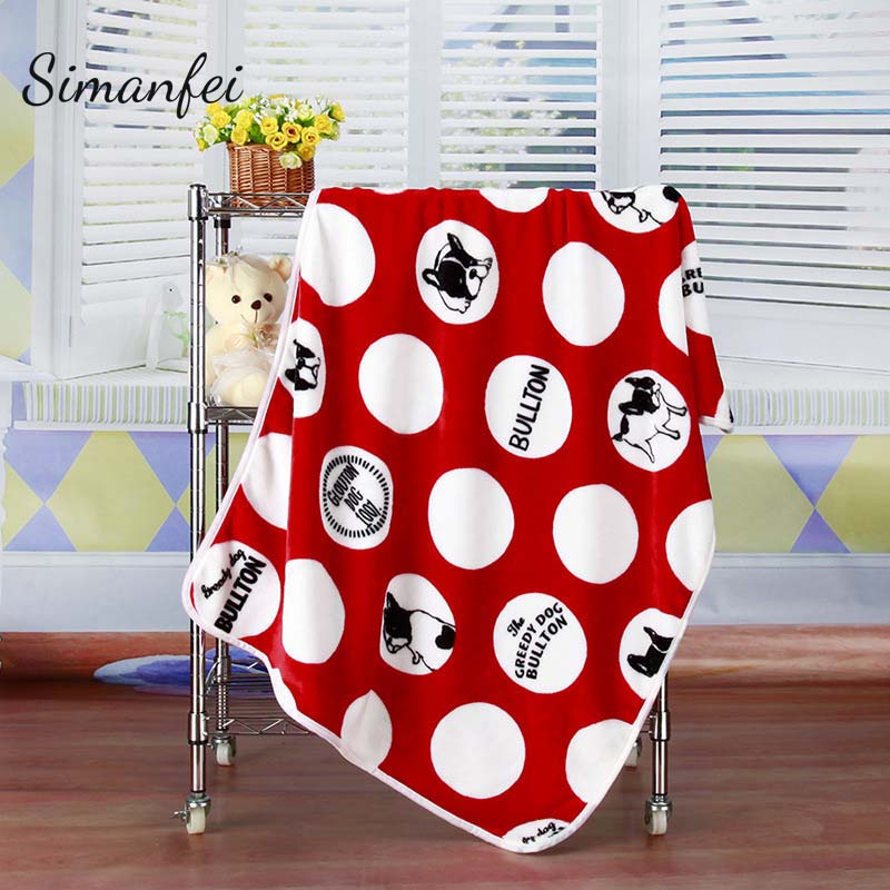 Simanfei Superfine Soft Flannel Blanket 2017 New Sofa Bed Children Cute Cartoon Cat Dog Wool Beach sofa kids Blanket Adults