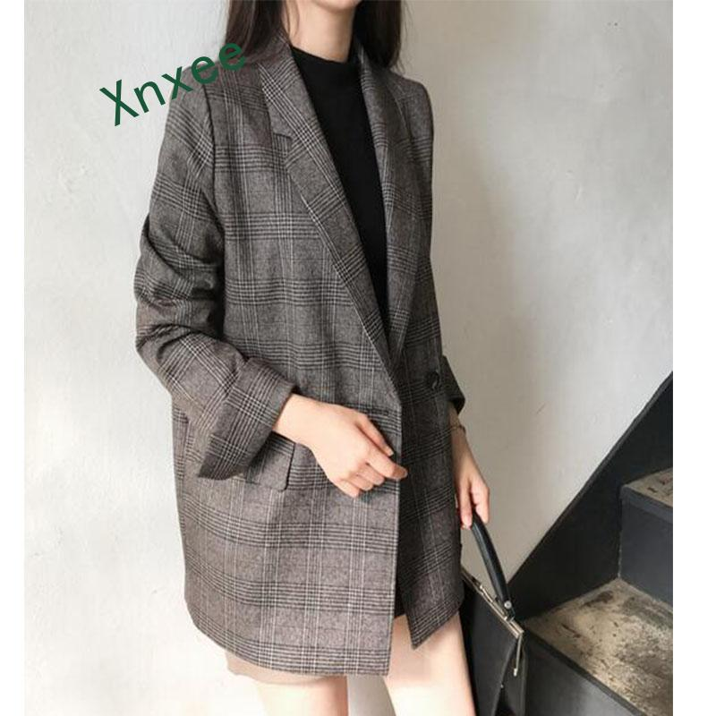 Xnxee Vintage Bouble Breasted Plaid Women Blazer Spring Pockets Jackets Female Retro Suits Coat Work Outerwear high quality