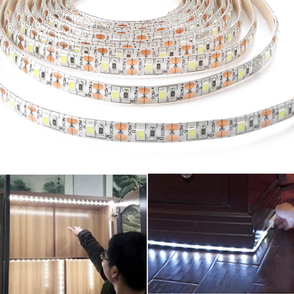 Lights & Lighting Alert 1m 2m 3m Led Under Cabinet Light Strip Kitchen Pir Motion Sensor Under Bed Lamp For Closet Wardrobe Stairs Hallway Battery Power