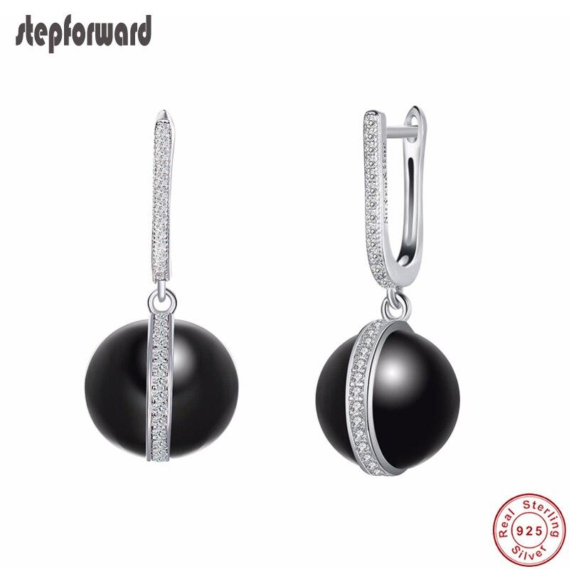 100% 925 Sterling Silber Schwarz Keramik Ball Hängen Ohrringe Frauen Anillos Top Qualität Zirkon Pflastern Schmuck Karriere Stil Geschenk