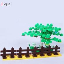 100pcs Garden City Block DIY Brick Parts Fence Block City Bush Trees Plants Compatible with Legoe Block Part Children Toys Gifts