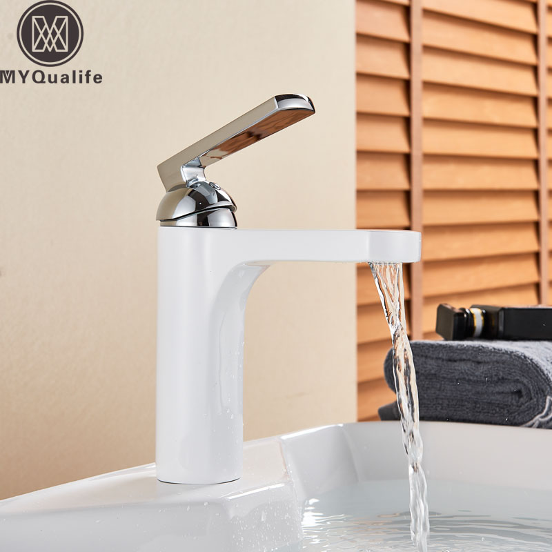 White Paint Basin Faucet Deck Mounted Brass Short Bathroom Mixer Tap Single Handle Hot Cold Mixer Crane Deck Mounted Water TapWhite Paint Basin Faucet Deck Mounted Brass Short Bathroom Mixer Tap Single Handle Hot Cold Mixer Crane Deck Mounted Water Tap
